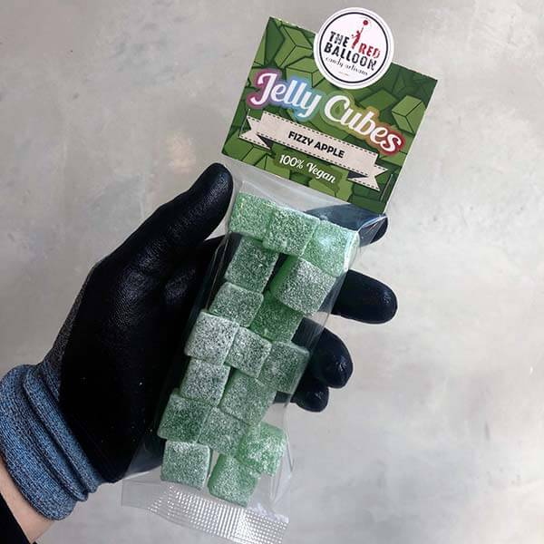 120g bag of apple flavoured jelly cubes.