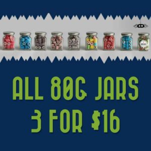 80g rock candy jar promotion. Any 3 for $16.