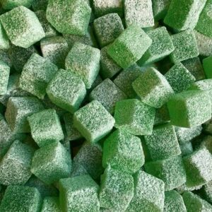 Sour Apple vegan jelly cubes.