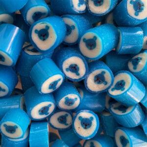 Blue Teddy Bear rock candy for birthdays, christenings, baptisms, celebrations.