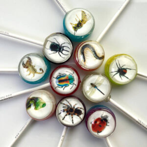 Fake bugs & insects printed on edible icing paper inside a fruit flavoured lollipops