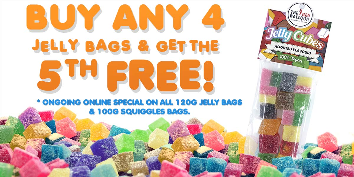 Buy 4 get the 5th bag FREE. Applies to 120g Jelly bags and 100g Squiggles bags.