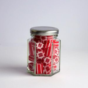 70 gram hex jar of double happiness candy