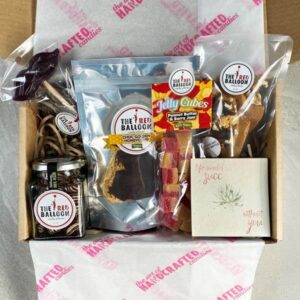 Father's Day Gift Box filled with candy including Choc filled Coffee Shot pillows, Choc Honeycomb, Peanut Butter & Berry Jam jelly cubes, Choc Nut Brittle, a quirky Moustache pop and plantable gift card.