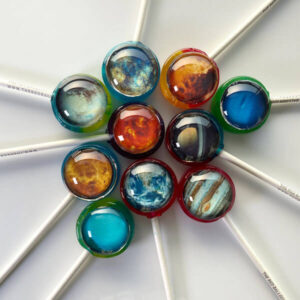 Planet Pops set of 10 lollipops incl. Earth, Neptune, Jupiter, Sol, Saturn, Mercury, Venus, Pluto, Uranus & Mars.