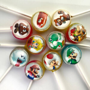 Mario Brothers Pops. Retro themed lollipops from the hit video game Super Mario Bros.