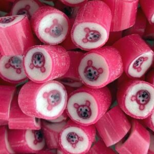 Pink Teddies raspberry flavoured rock candies. Lollies for Baby shower. 100% Vegan.