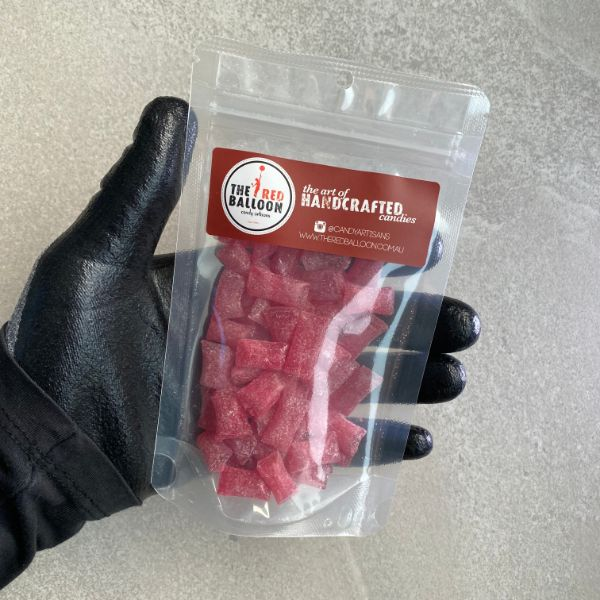 80g bag of Raspberry flavoured sour drops.