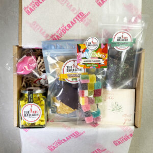Thinking Of You gift box including Smiles Rock Candy 230g jar/115pcs, Raspberry Choc Honeycomb 100g bag, Mellow Jello's 120g bag, Spearmint Chocky Bark 100g bag, Lips Lollipop, Plantable Message Card (your choice of 3).