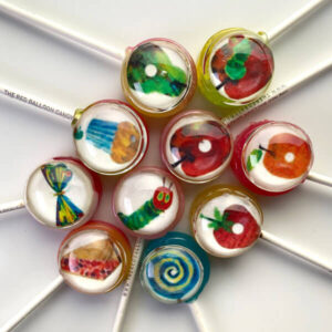 Lollipops enspired by The Very Hungry Caterpillar children's book.